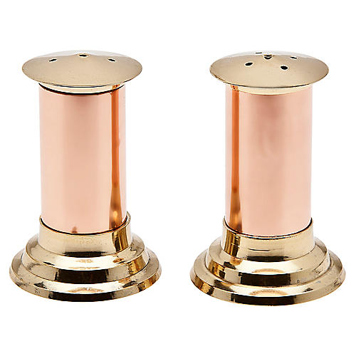 S/2 Salt & Pepper Shakers, Brass/Copper