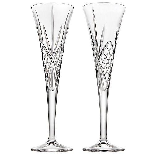 S/2 Dublin Champagne Flutes, Clear