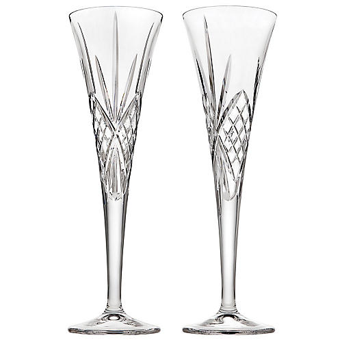 S/2 Dublin Champagne Flutes, Clear