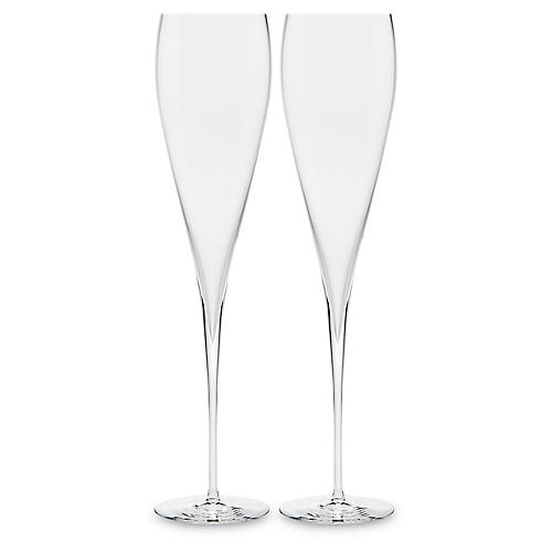 S/2 Carat Champagne Flutes, Clear