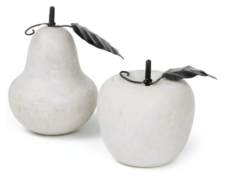 Asst. of 2 Antiqued Marble Fruit, Gray