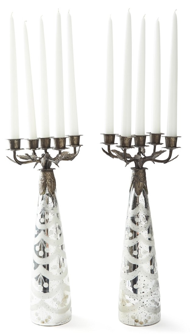 Pair of Five-Light Candelabras, Silver
