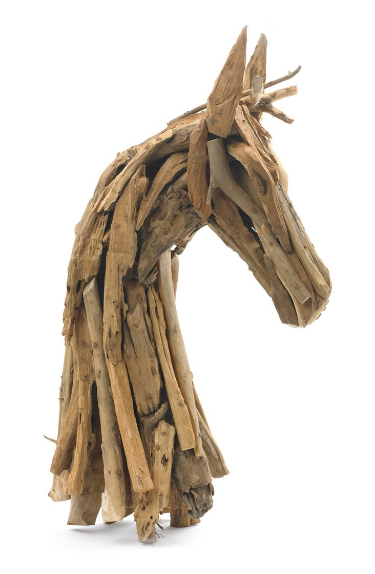 "36"" Driftwood Horse Head, Brown"