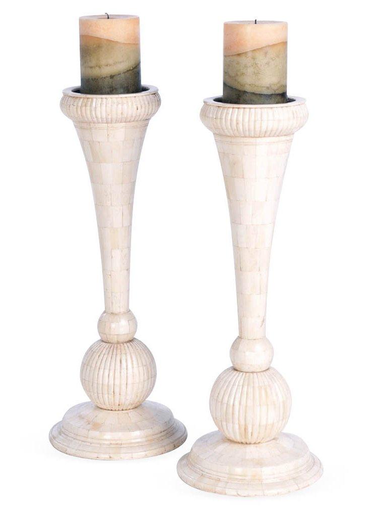 "Pair of 18"" Bone Candleholders, Ivory"