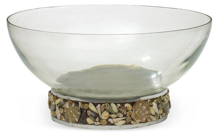"15"" Seashore Bowl, Silver/Brown"