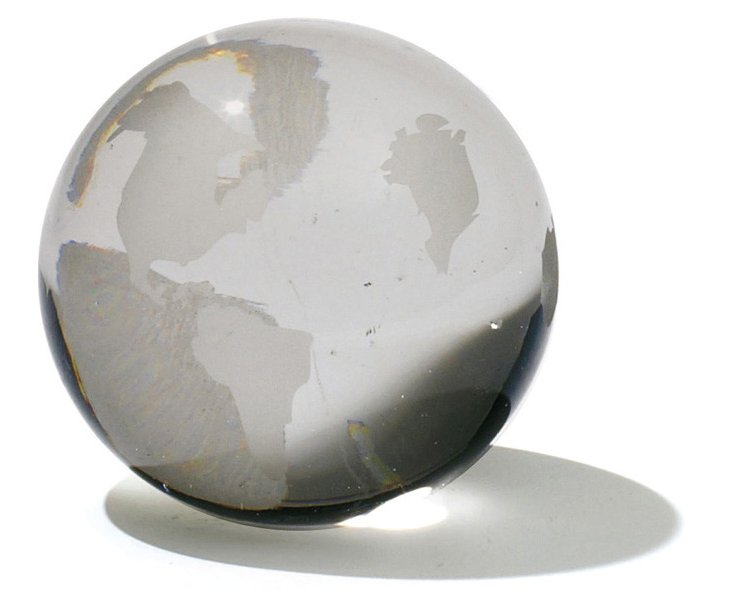 """4"""" Glass World Sphere, Clear"""
