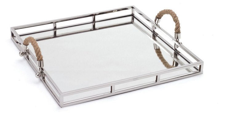 "19"" Square Mirrored Tray, Silver"