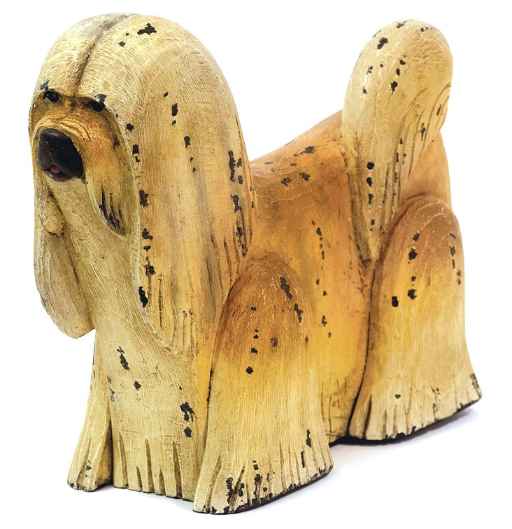 "15"" Shaggy Dog Figurine, Tan"