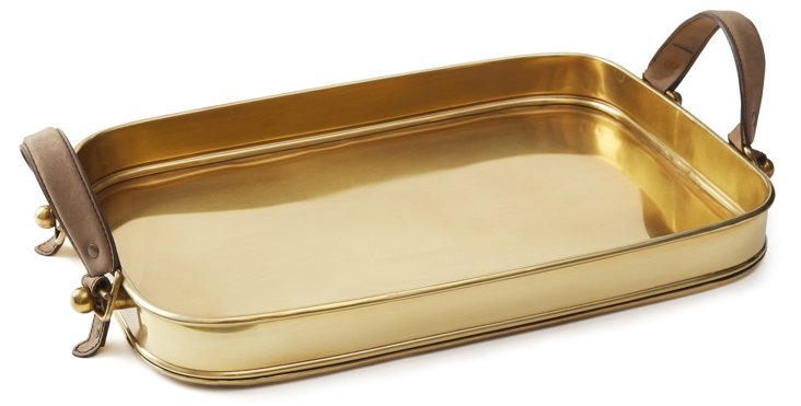 "18"" Brass Tray w/ Leather Handles, Gold"