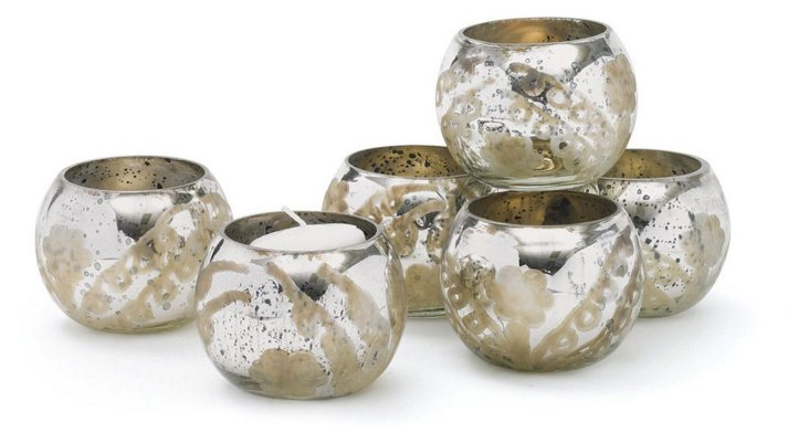 S/6 Glass Votive Holders, Silver
