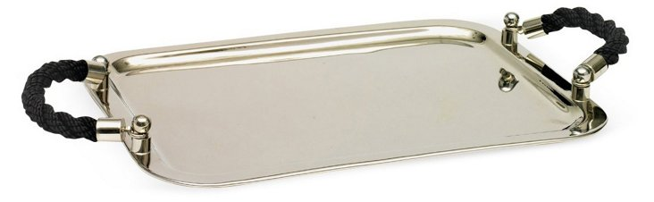 "19"" Nickel Tray w/ Rope Handles, Silver"