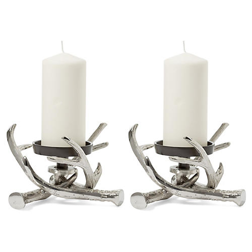 S/2 Antler Pillar Holders, Silver