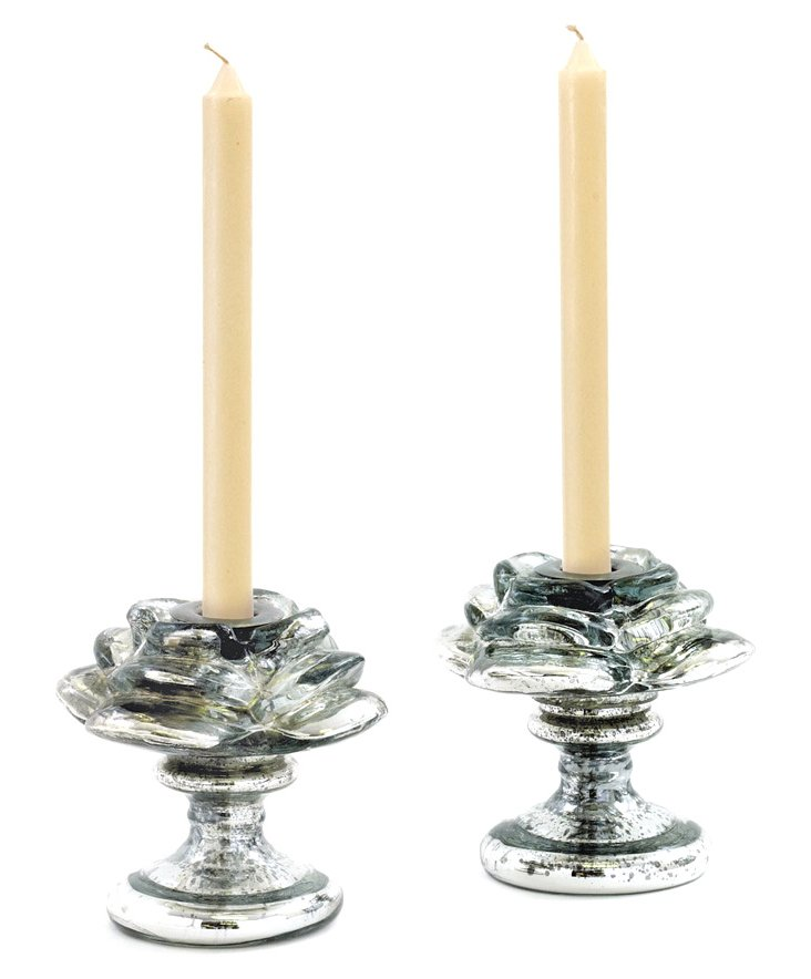 """Pair of 5"""" Rose Candleholders, Silver"""