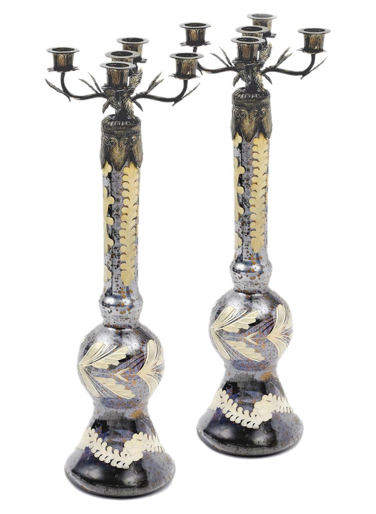 "Pair of 23"" Taper Candelabras, Silver"