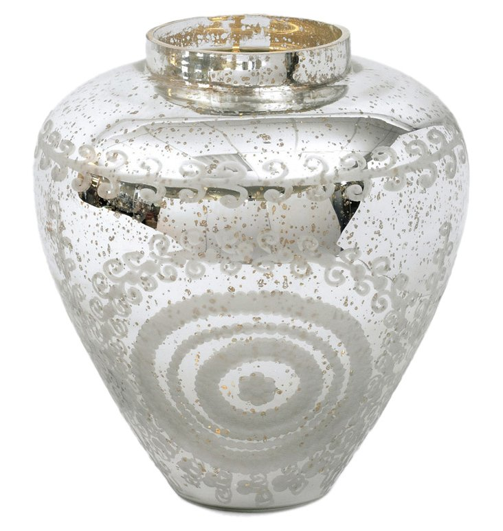 """14"""" Jocelyn Vase, Silver"""
