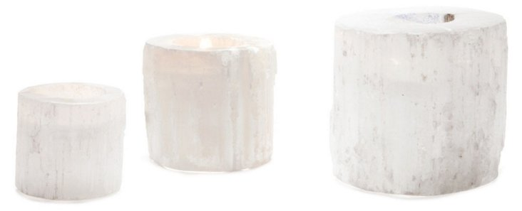 Asst. of 3 Round Rock Votives, White