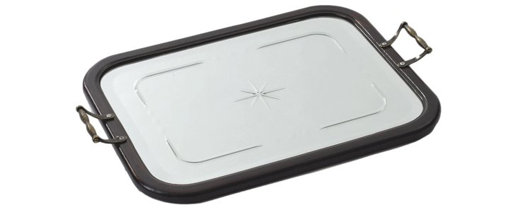 "22"" Mirrored Butler's Tray, Silver/Brown"