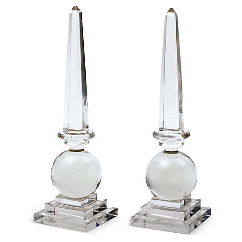 "Pair of 17"" Cleopatra Obelisks, Clear"