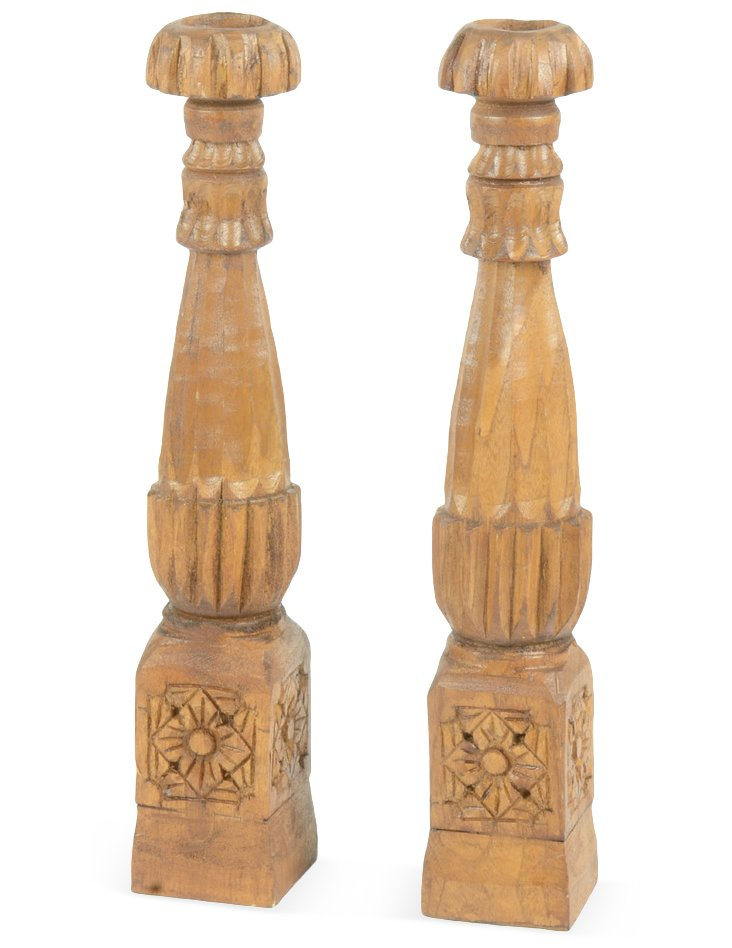 """Pair of 18"""" Tapered Candleholders, Brown"""