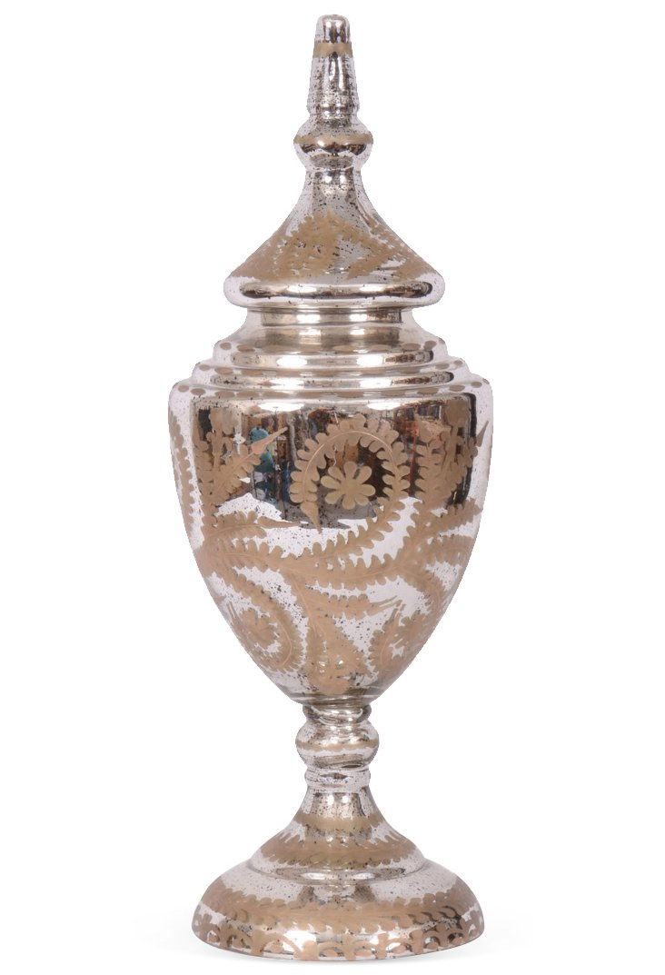 """26"""" Maeve Urn with Lid, Silver/Gold"""
