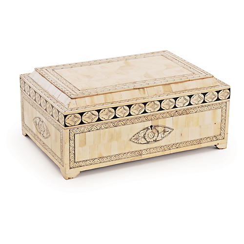 "14"" Agra Bone Box, Ivory"