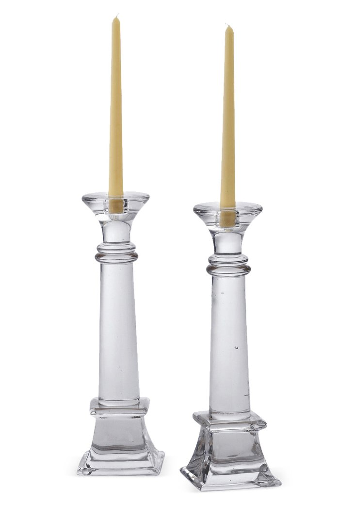 "Pair of 15"" Taper Candleholders, Clear"