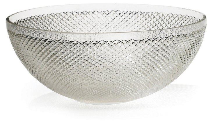 "16"" Cross-Hatch Glass Bowl"