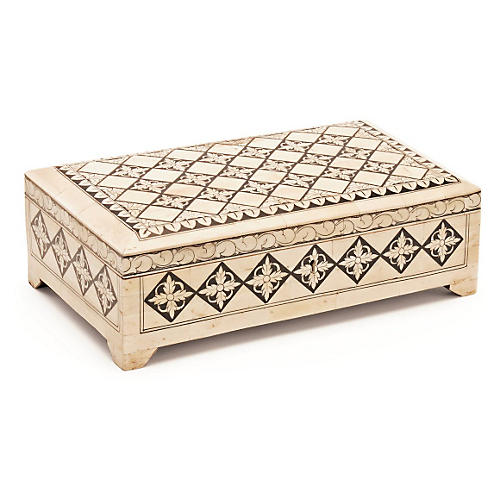 "12"" Dewan Bone Box, Ivory"