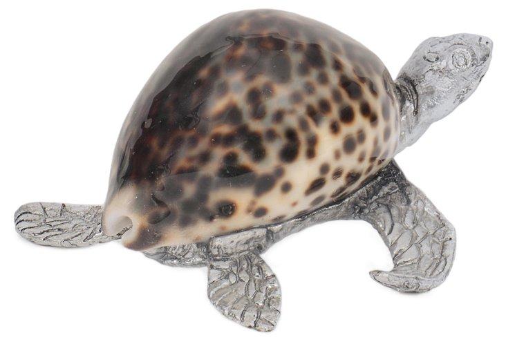 "4"" Tortoise Figurine, Brown/Silver"