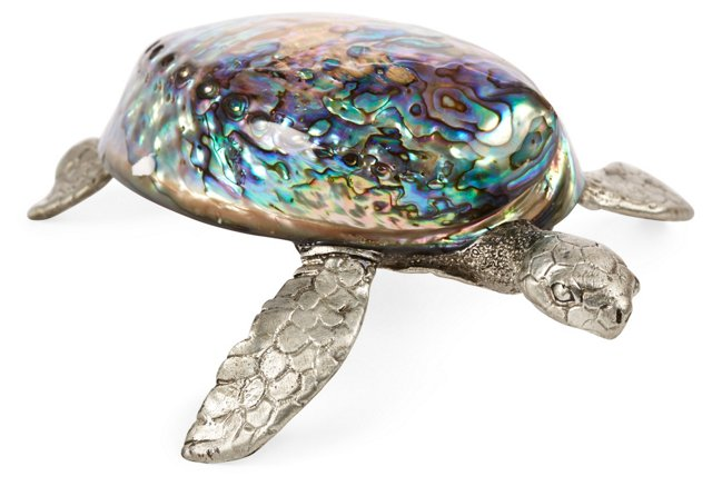 "9"" Pewter Turtle Figurine, Gold"
