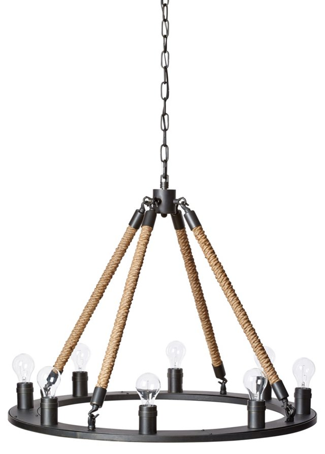 Ashby 8-Light Chandelier, Rope/Brass