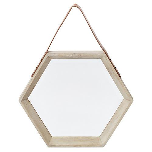 Mini Hanging Hexagon Mirror, White