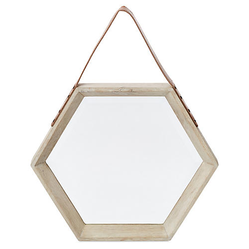 Mini Hanging Hexagon Mirror, White
