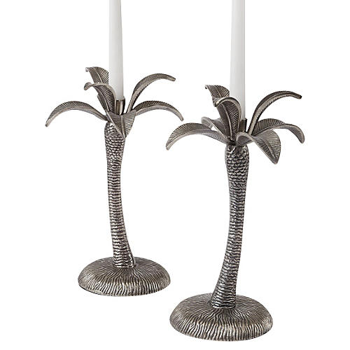 S/2 Palm Tree Candlesticks