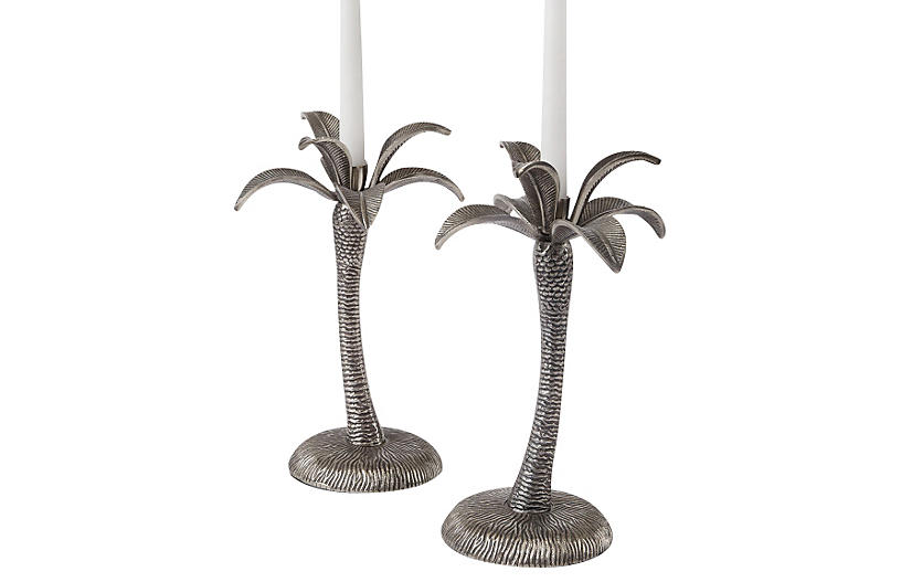 S/2 Palm Tree Candlesticks