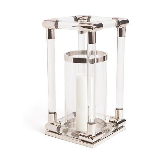 """19"""" Loyd Deco Lantern, Silver/Clear"""