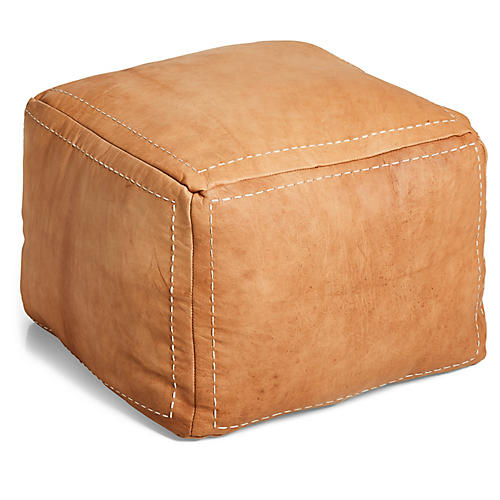 Moroccan Square Pouf, Natural Leather