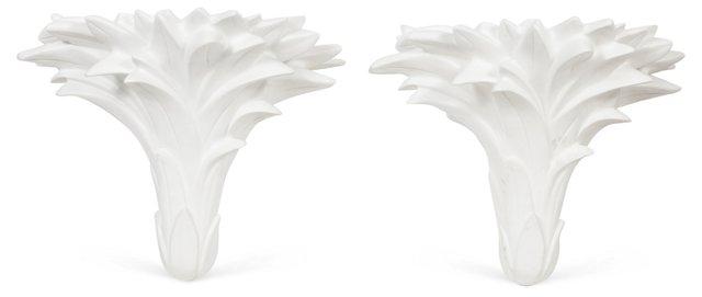 Wall Shelf w/ Palm Fronds, Pair