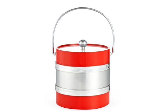 Ice Bucket, Red/Silver