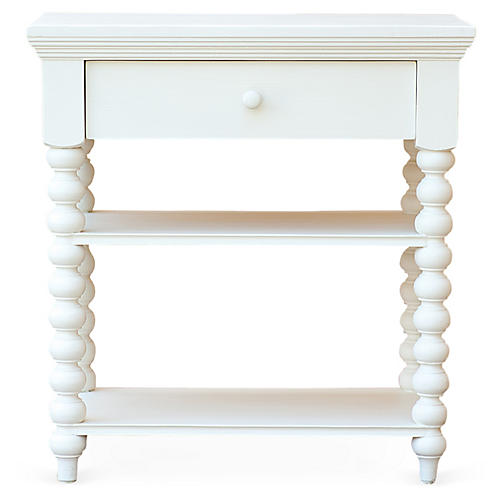 Alex Spindle Side Table, White