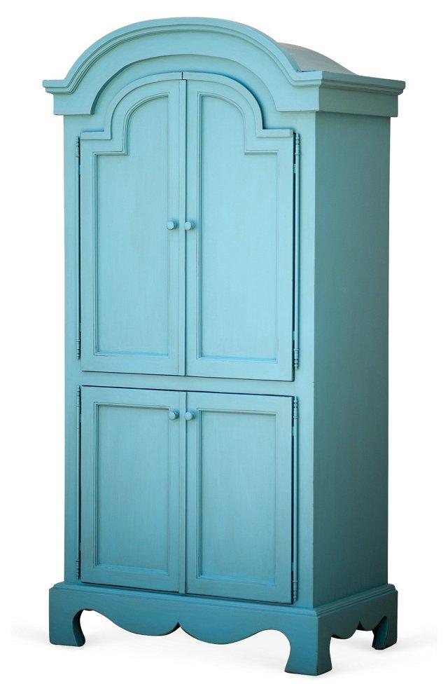 English Farmhouse Armoire, Turquoise