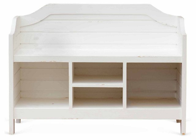 "Beach House 40"" Storage Bench, White"