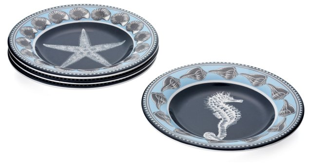 Asst. of 4 By-The-Sea Salad Plates