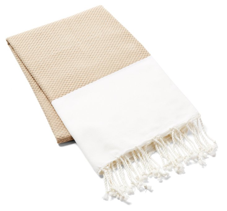 Small Sousse Turkish Towel, Beige