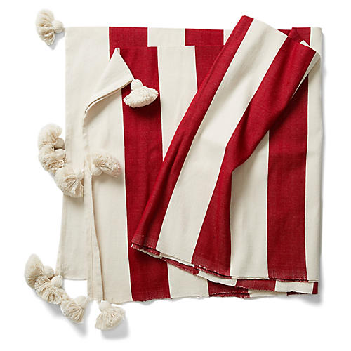Tanger Striped Cotton Throw, Red