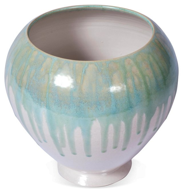 Hand-Thrown Wide Blue Green Float Vase