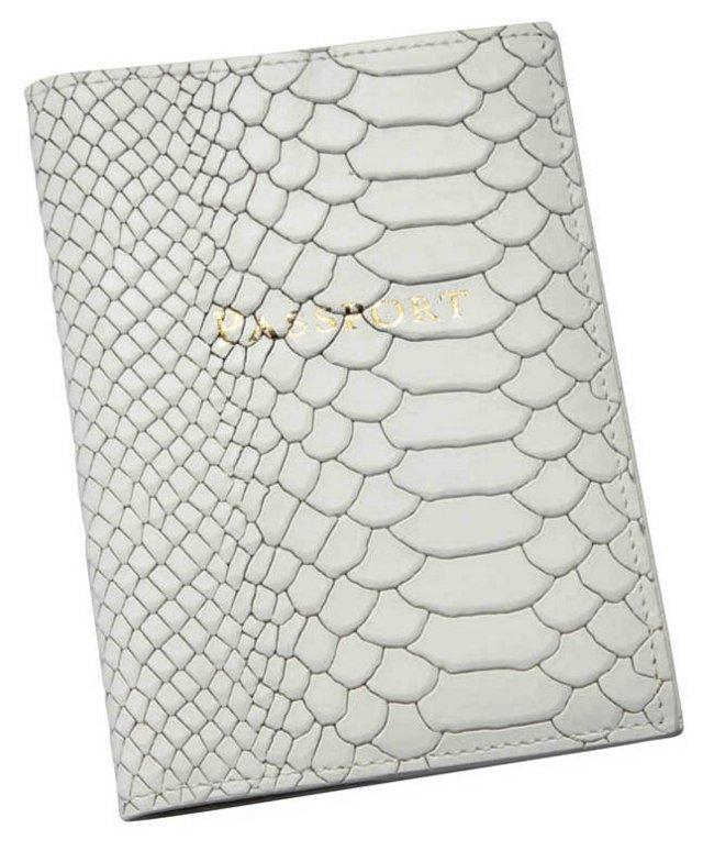 Embossed Leather Passport Holder, White
