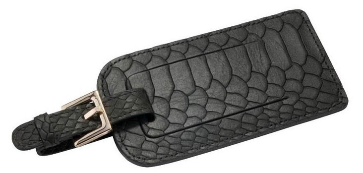 Embossed Leather Luggage Tag, Black