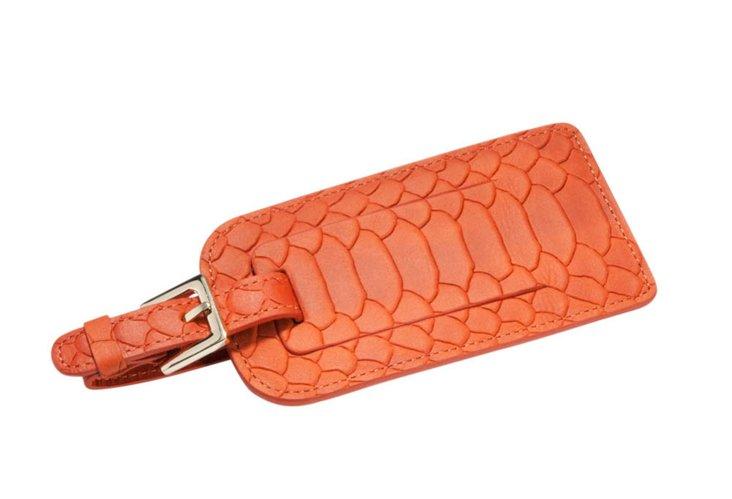 Embossed Leather Luggage Tag, Orange