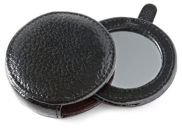 Leather Compact Mirror, Black